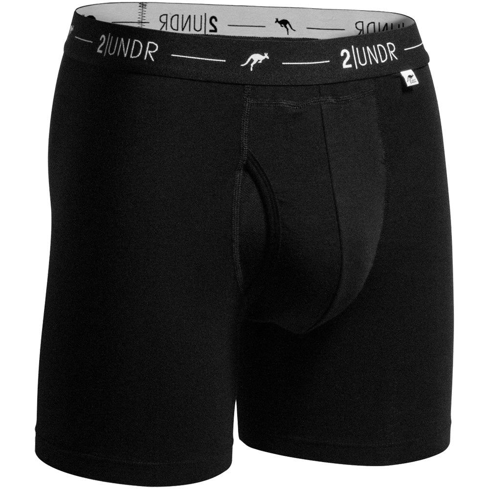 "2UNDR Day Shift 6"" Boxer Briefs Athletic Apparel Black : 2UNDR Day Shift Boxer Briefs share a blend of modal and cotton to create a smooth, breathable feel. A great choice for everyday wear with fun designs to keep things interesting. Includes the patented Joey Pouch™ for the best in comfort and style. Cool and soft to the touch, the Day Shift Boxer briefs are sure to please. Solid and sophisticated colors are easy to pair with your business or casual attire.  Material resists shrinkage. Elastic waistband provides a secure fit. Self-fabric binding offers a smoother look and feel. No-Drip-Tip™ moisture control layer wicks away unwanted wetness for a faster drying garment. Joey Pouch™ delivers the perfect fit while preventing unwanted skin contact. Modal blends with spandex fabric for a smooth and soft feel that breathes extremely well. Waistband guarantees flexibility and is roll-resistant. Flatlock stitching and construction seams are intelligently designed to avoid"