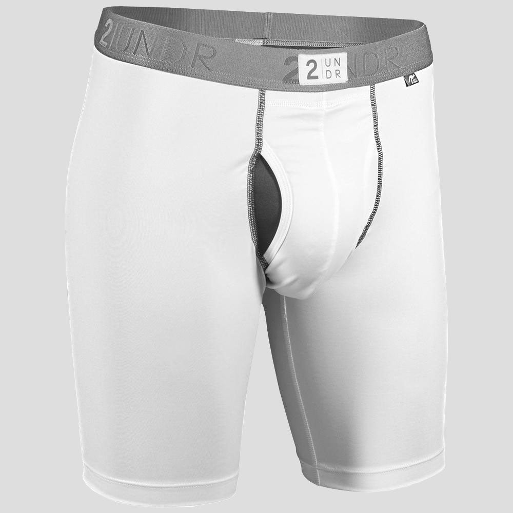 "2UNDR Power Shift 2.0 9"" Long Leg Briefs Athletic Apparel White : The new 2UNDR Power Shift 2.0 9 Long Leg Boxer Briefs continue their tradition of providing an excellent feel under your gear as well as support and quick-drying performance. This update features a longer length and an added SWAAS patch at the back, just below the waist for better coverage. Now, guys have a four-way stretch, mesh V-panel with enhanced ventilation for even better fit and breathability.   Material resists shrinkage. Self-fabric binding offers a smoother look and feel. Joey Pouch™ delivers the perfect fit while preventing unwanted skin contact. No-Drip-Tip™ moisture control layer wicks away unwanted wetness for a faster drying garment. Modal blends with spandex fabric for a smooth and soft feel that breathes extremely well. Waistband guarantees flexibility and is roll-resistant. Flatlock stitching and construction seams are intelligently designed to avoid potential rub zones. 6¼"" gussete"