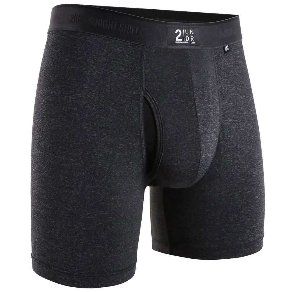 "2UNDR Night Shift Brief Athletic Apparel Charcoal : Considered a new, advanced luxury style, 2UNDR Night Shift Briefs help you achieve the perfect feel under your gear with a silky, nylon and polyester blend. The fabric is less likely to fade or pill as a result of friction. These boxer briefs are formulated to be velvety to the touch, absorbent and similar in texture to silk. Smoothness delivers incredible comfort wear after wear.   Material resists shrinkage. Elastic waistband provides a secure fit. Self-fabric binding offers a smoother look and feel. No-Drip-Tip™ moisture control layer wicks away unwanted wetness for a faster drying garment. Laser-cut Joey Pouch™ delivers the perfect fit while preventing unwanted skin contact. Features a silky, nylon and polyester blend. Waistband guarantees flexibility and is roll-resistant. Flatlock stitching and construction seams are intelligently designed to avoid potential rub zones. 6"" gusseted inseam."