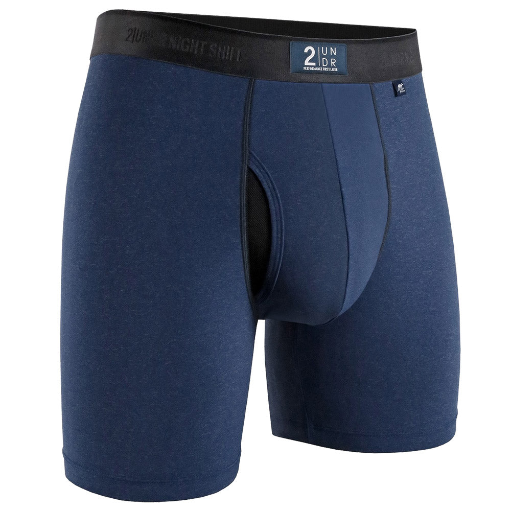 "2UNDR Night Shift Brief Athletic Apparel Navy : Considered a new, advanced luxury style, 2UNDR Night Shift Briefs help you achieve the perfect feel under your gear with a silky, nylon and polyester blend. The fabric is less likely to fade or pill as a result of friction. These boxer briefs are formulated to be velvety to the touch, absorbent and similar in texture to silk. Smoothness delivers incredible comfort wear after wear.   Material resists shrinkage. Elastic waistband provides a secure fit. Self-fabric binding offers a smoother look and feel. No-Drip-Tip™ moisture control layer wicks away unwanted wetness for a faster drying garment. Laser-cut Joey Pouch™ delivers the perfect fit while preventing unwanted skin contact. Features a silky, nylon and polyester blend. Waistband guarantees flexibility and is roll-resistant. Flatlock stitching and construction seams are intelligently designed to avoid potential rub zones. 6"" gusseted inseam."