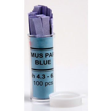 4.3 to 6.8pH Range, Blue Litmus, Acid Test Paper, 100 Strips
