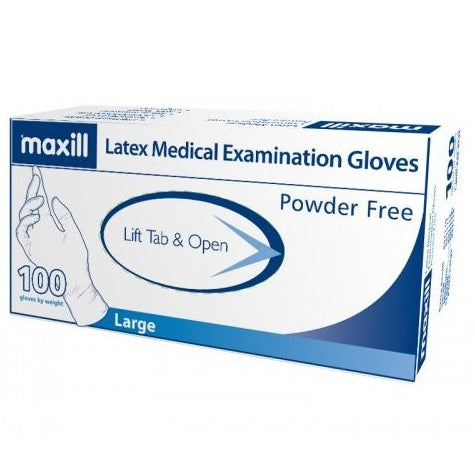 Large, Powder Free, Latex Gloves, 100 Gloves