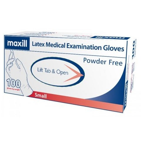 Small, Powder Free, Latex Gloves, 100 Gloves