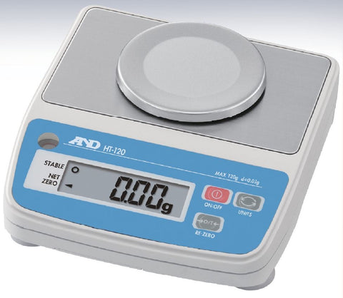 A&D HT-120 - 120 g x 0.01g Compact Scale with Carrying Case