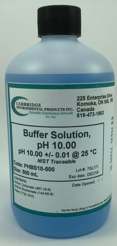 Buffer Solution pH 10.00 Blue 500ml Bottle