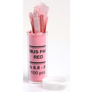 6.8 to 8.1pH Range, Red Litmus, Base Test Paper, 100 Strips
