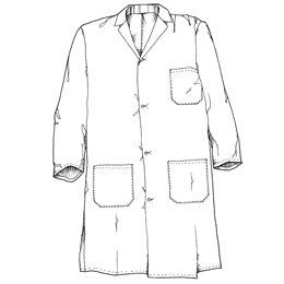 Small, Dacron/Cotton, Knee Length, 3 Large Patch Pockets, Blue Lab Coat