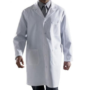 Knee Length White Lab Coat - 3 Pockets