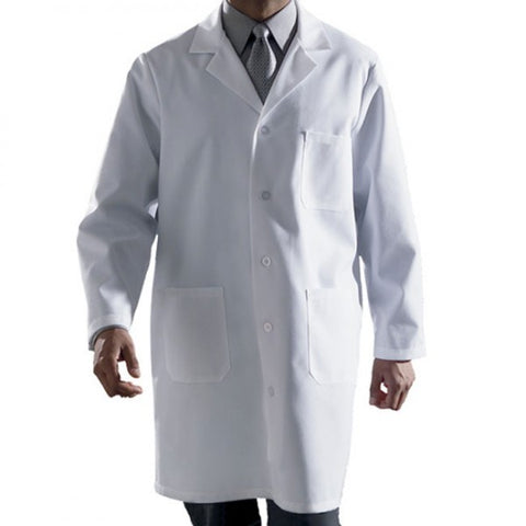 Small, Polyethylene Fiber, Knee Length, 3 Large Patch Pockets, Snag and Tear Resistant, White Lab Coat