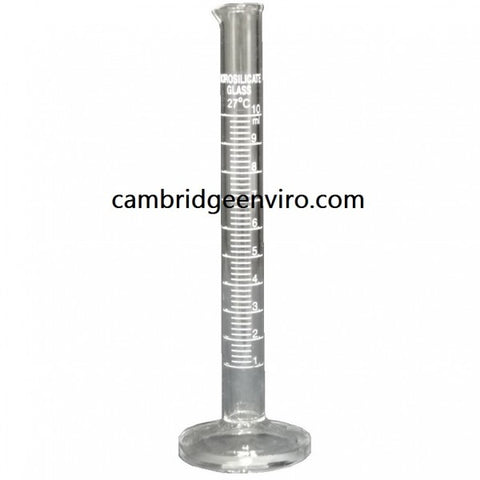 10ml Glass Cylinder, Graduated Single Scale - Round Base | Cambridge Environmental