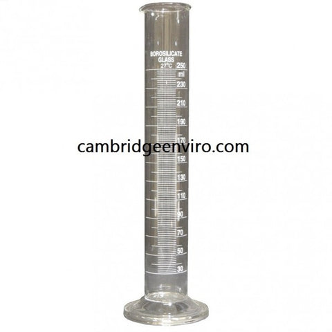 250ml Glass Cylinder, Graduated Single Scale - Round Base | Cambridge Environmental