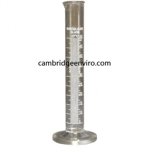 50ml Glass Cylinder, Graduated Single Scale - Round Base | Cambridge Environmental