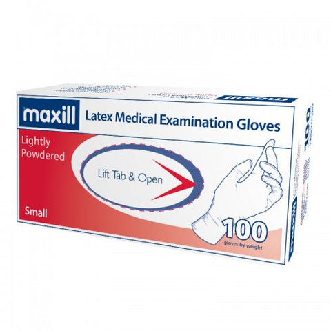 Small, Lightly Powdered, Latex Gloves, 100 Gloves