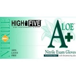 Large, Textured, Green, Aloe-Coated, Nitrile Gloves, 100 Gloves
