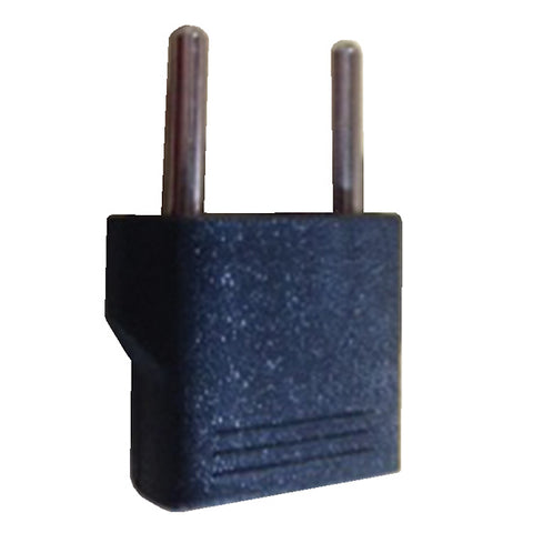 Adapts US blade prongs to Type C round euro-prongs