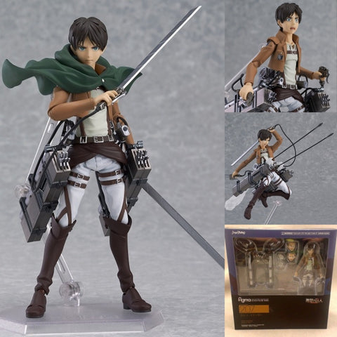 "Attack on Titan Action Figure Eren Jaeger Figma 207 PVC Collection Model Toy 6"" 14CM"