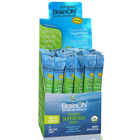 E3Live BrainON, Concentrated E3AFA extract of Phyocyanin and PEA, 30ct Box of 1g Dry Stick Packs