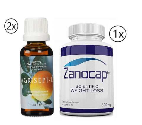 Agrisept L Antioxidant 30 ml 2 Bottle w/ Zanocap Scientific Weight Loss 1 Bottle