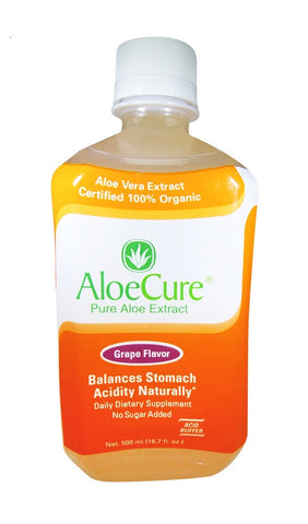 AloeCure Pure Aloe Extract Acid Reflux Grape Flavor DIetary Supplement 16.7 fl.oz