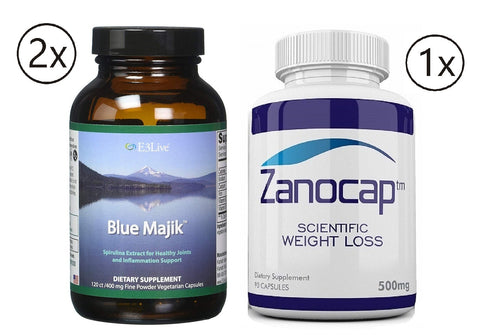 E3Live Blue Majik, 2 Bottles of 120 Count with Zanocap 1 Bottle