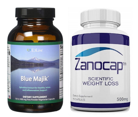 E3Live Blue Majik, 120 Count With Zanocap Scientific Weight Loss 1 Bottle
