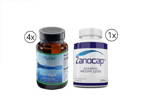 E3Live Blue Majik 4 Bottles of 60ct/400mg Capsules with Zanocap 1 Bottle