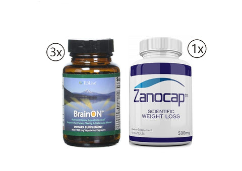 E3Live BrainOn, 3 Bottles of 60 Count with Zanocap Scientific Weight Loss