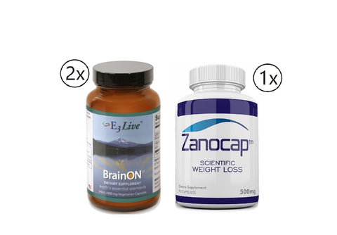 E3Live BrainON 2 Bottles of 400 mg - 240 Vegetarian Capsules w/ Zanocap 1 Bottle