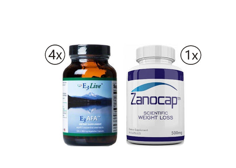 E3Live AFA, 4 Bottles of 120 Caps (400mg Each) with Zanocap 1 Bottle