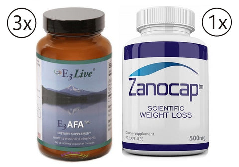 E3Live AFA, 3 Bottles of 240 Caps with Zanocap Scientific Weight Loss 1 Bottle