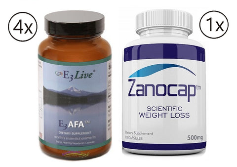 E3Live AFA, 4 Bottles of 240 Caps with Zanocap Scientific Weight Loss 1 Bottle