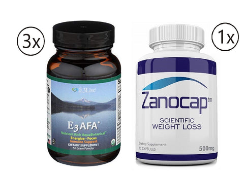 E3Live AFA Powder, 3 Bottles of 50 Gram with Zanocap Scientific Weight Loss