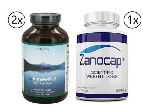 E3Live Renew Me! Total Body Blend Powder 2 Bottles 354 Grams w/ Zanocap 1 Bottle