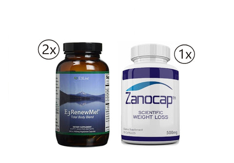 E3 Renew Me! Total Body Blend 2 Bottles of 120ct (400 mg) with Zanocap 1 Bottle