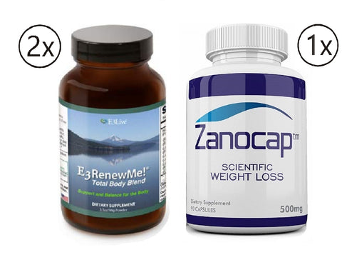 E3Live E3renewme! Powder, 2 Bottles of 99 Gram with Zanocap 1 Bottle