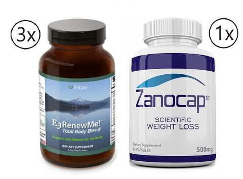 E3Live E3renewme! Powder, 3 Bottles of 99 Gram with Zanocap 1 Bottle