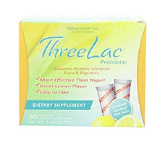 Threelac Probiotic Natural Lemon Flavor Dietary Supplement 60 Packets