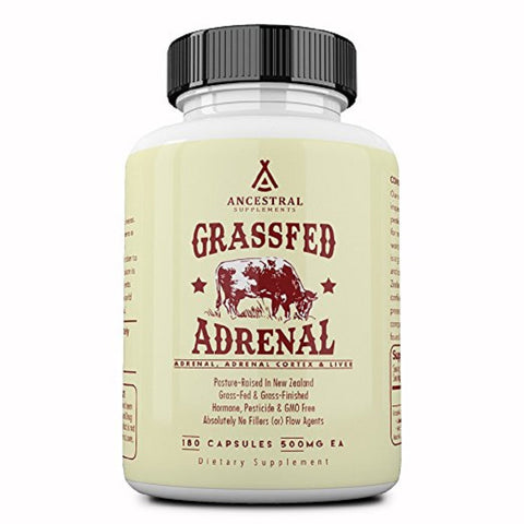 Ancestral Supplements Grass Fed Adrenal (180 Capsules) 500 mg