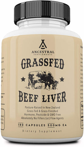 Ancestral Supplements Grass Fed Beef Liver (180 Capsules)