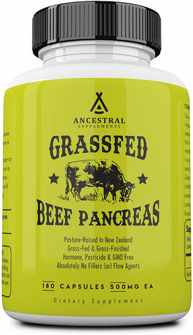 Ancestral Supplements Grass Fed Pancreas (180 Capsules) 500 mg