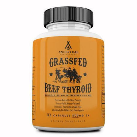 Ancestral Supplements Grass Fed Natural Desiccated Thyroid (180 Capsules) 500 mg