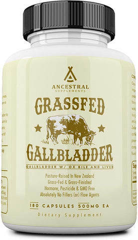 Ancestral Supplements Grass Fed Gallbladder (W/ Ox Bile & Liver) (180 Capsules) 500 mg