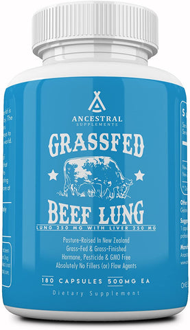 Ancestral Supplements Grass Fed Beef Lung (W/ Liver) (180 Capsules) 500 mg