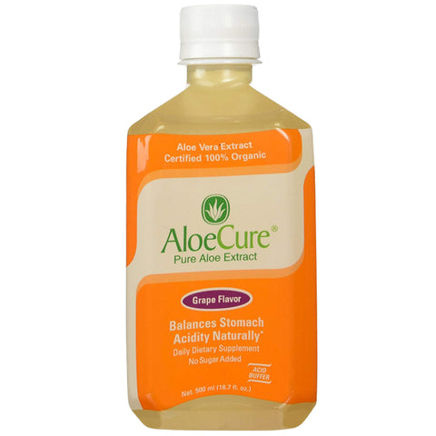 AloeCure Pure Aloe Vera Juice (Grape Flavor) for Bouts of Acid Reflux, Heartburn, IBS - 6 pack