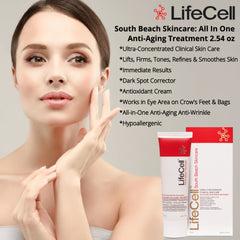 Lifecell (Life Cell) Anti Aging Wrinkle South Beach Skin Care 2.54oz + Zanocap Diet Pills for healthy weight loss