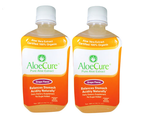 AloeCure Pure Aloe Extract Acid Reflux Treatment Grape, 2 Bottles