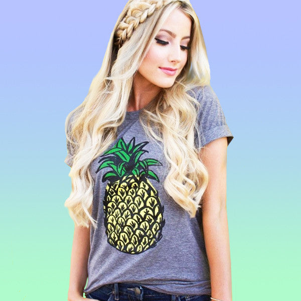 Cute Pineapple Print Casual Short Sleeve Tee Tshirt - Very Peachy Clothing