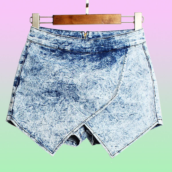Denim Acid Wash Asymmetric Mini Skort - Very Peachy Clothing