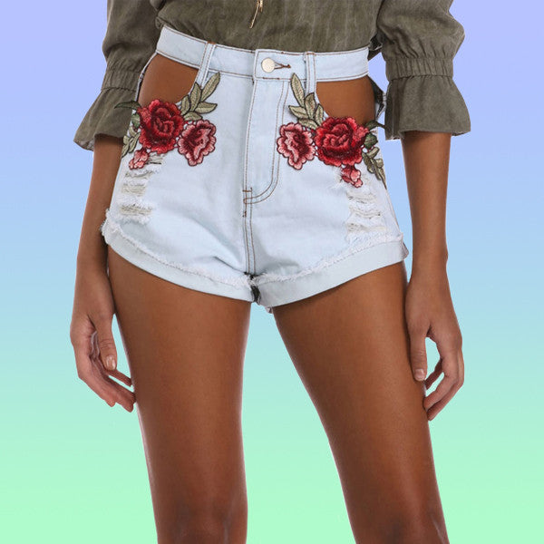 High Waisted Cut Out Rose Denim Shorts - Very Peachy Clothing