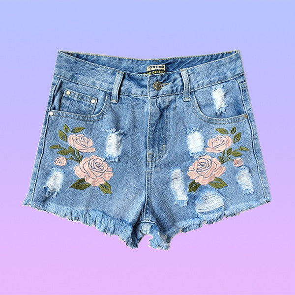 High Waisted Flower Embroidered Denim Shorts - Very Peachy Clothing